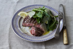 Tuscan Skirt Steak with Arugula and Parmigiano