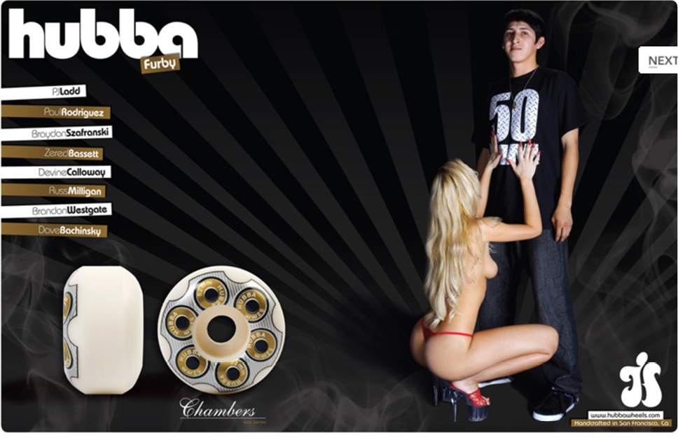 Typical hubba wheels ad. Skateboarding culture  loves  women. But not for their skating.