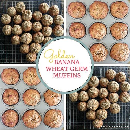 Golden Banana Wheat Germ Muffins