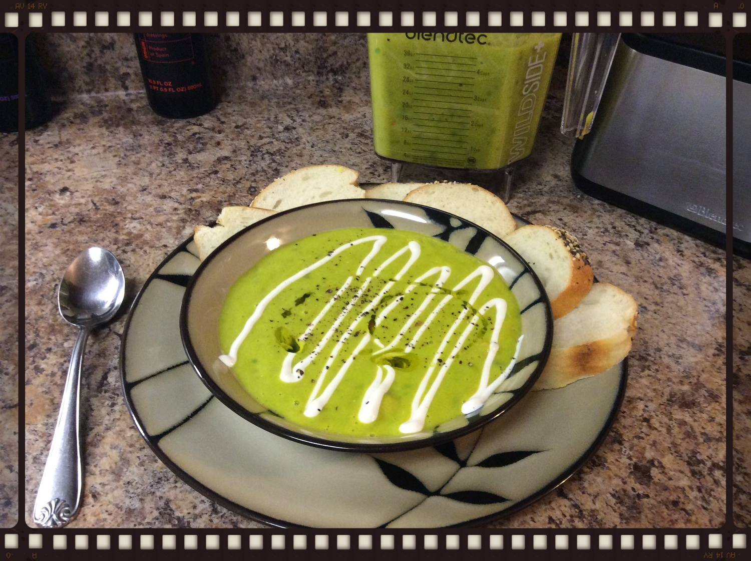 Green Pea Soup with Cashew Cream topping made in the Blendtec Designer 725