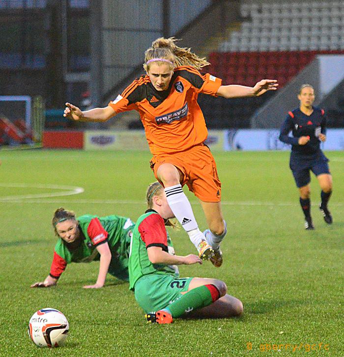 Carla Boyce in action against Glentoran, image by Graeme Berry.