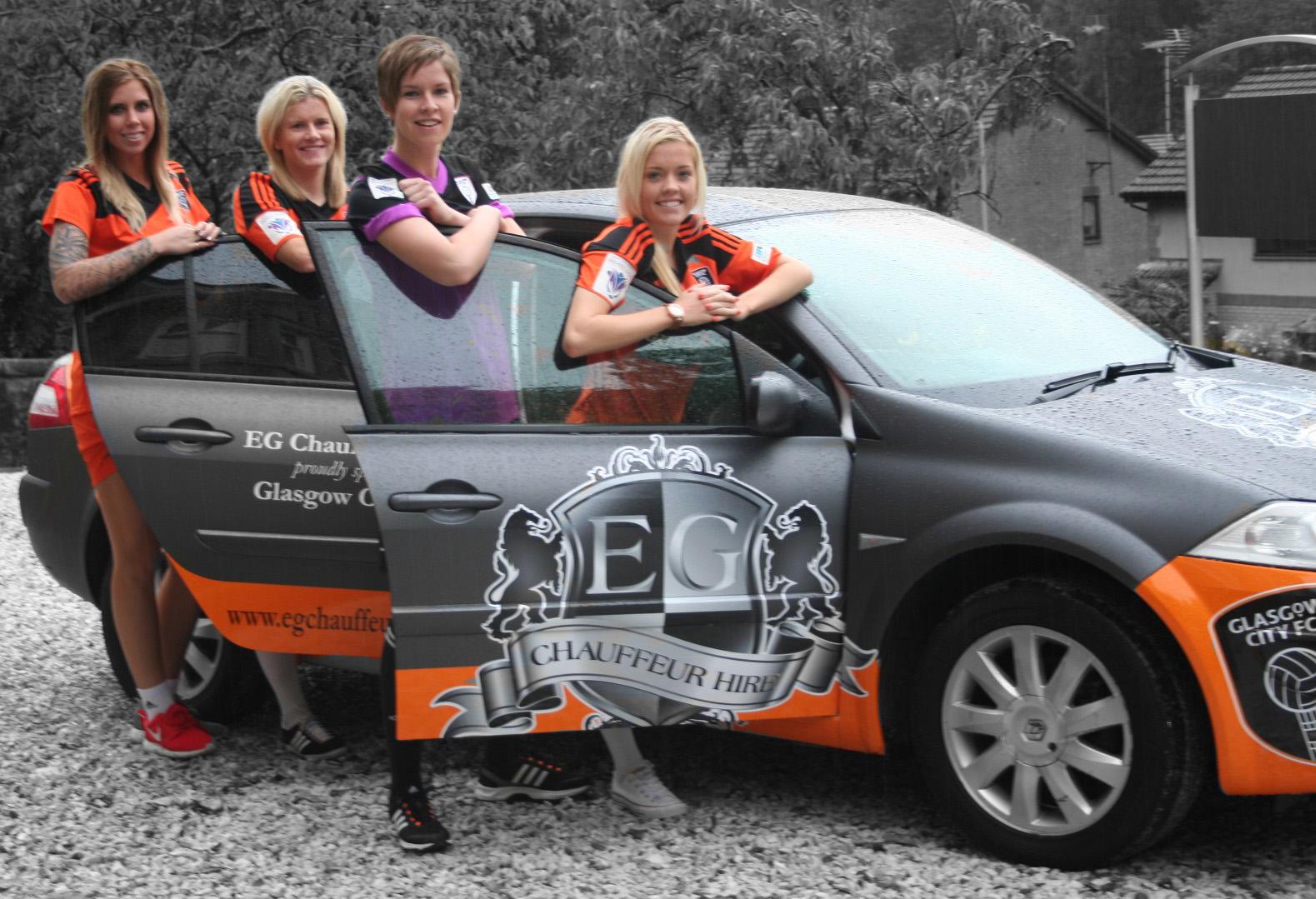 Morgan Marlborough, Julie Nelson, Nikki Deiter, Denise O'Sullivan with our EG Chauffeur Car.
