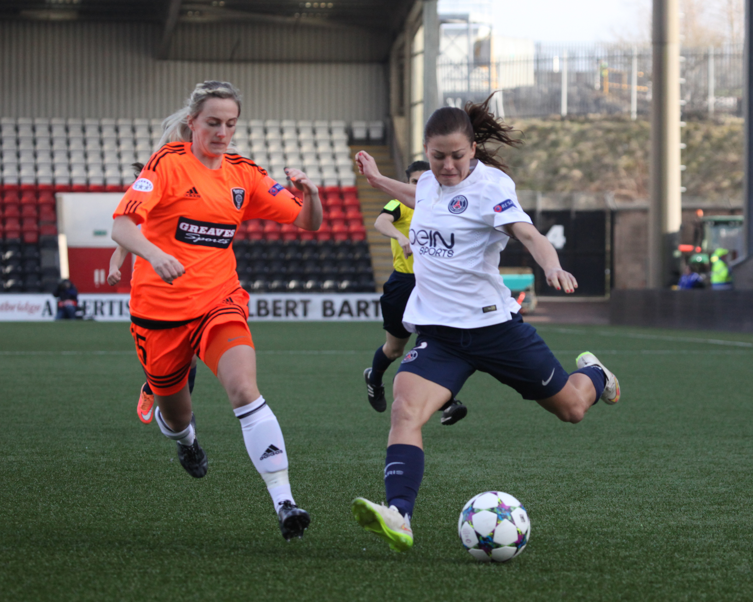 Emma Black in UWCL game v PSG. Image by Andy Buist