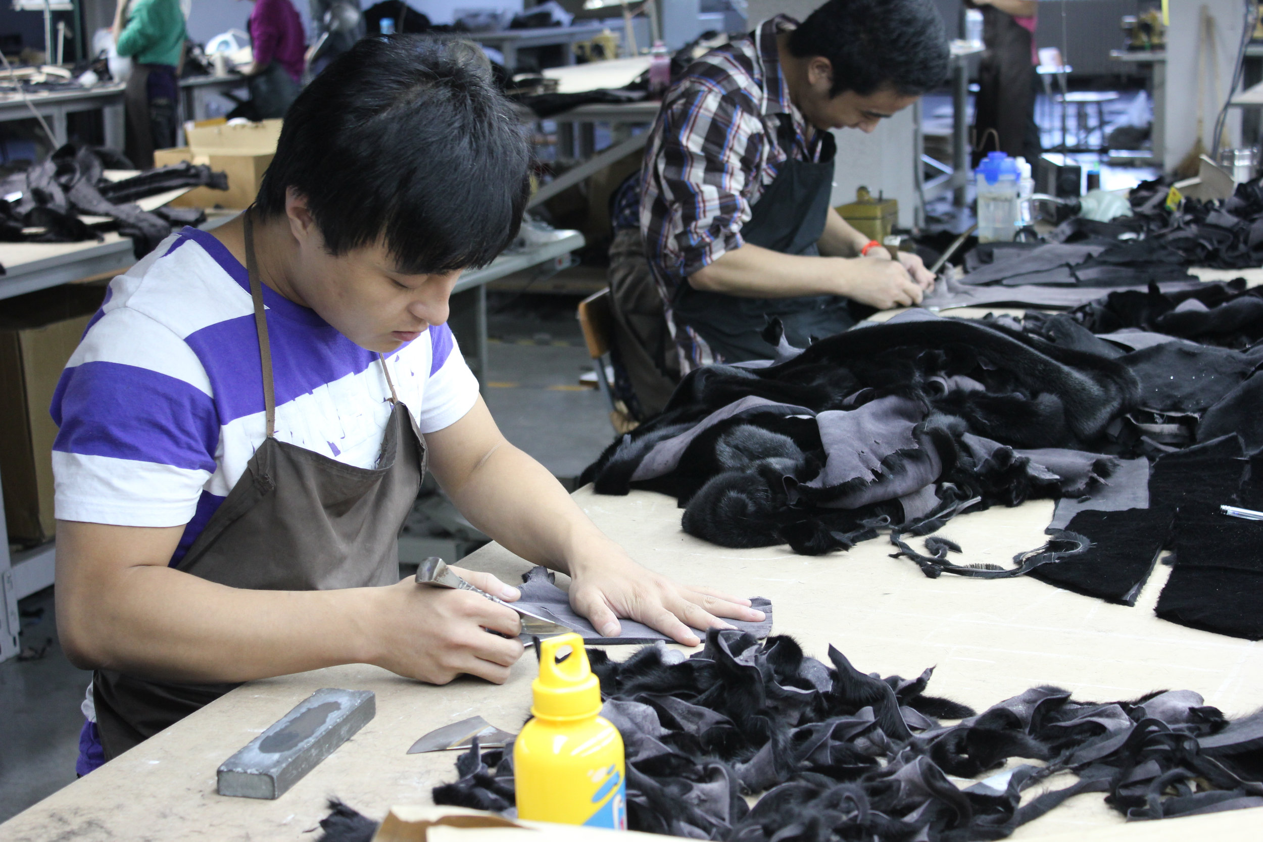 Garment cutters at work.