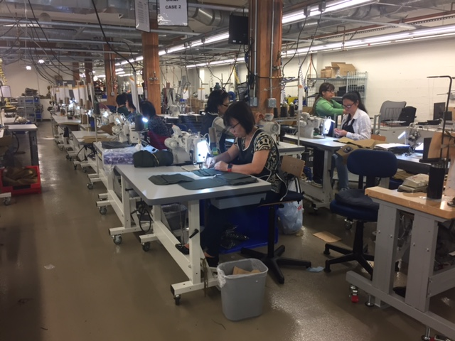 The main product seen in production here was Filson's line of luggage and messenger bags. Much of their apparel is made in another factory, also located in Seattle.
