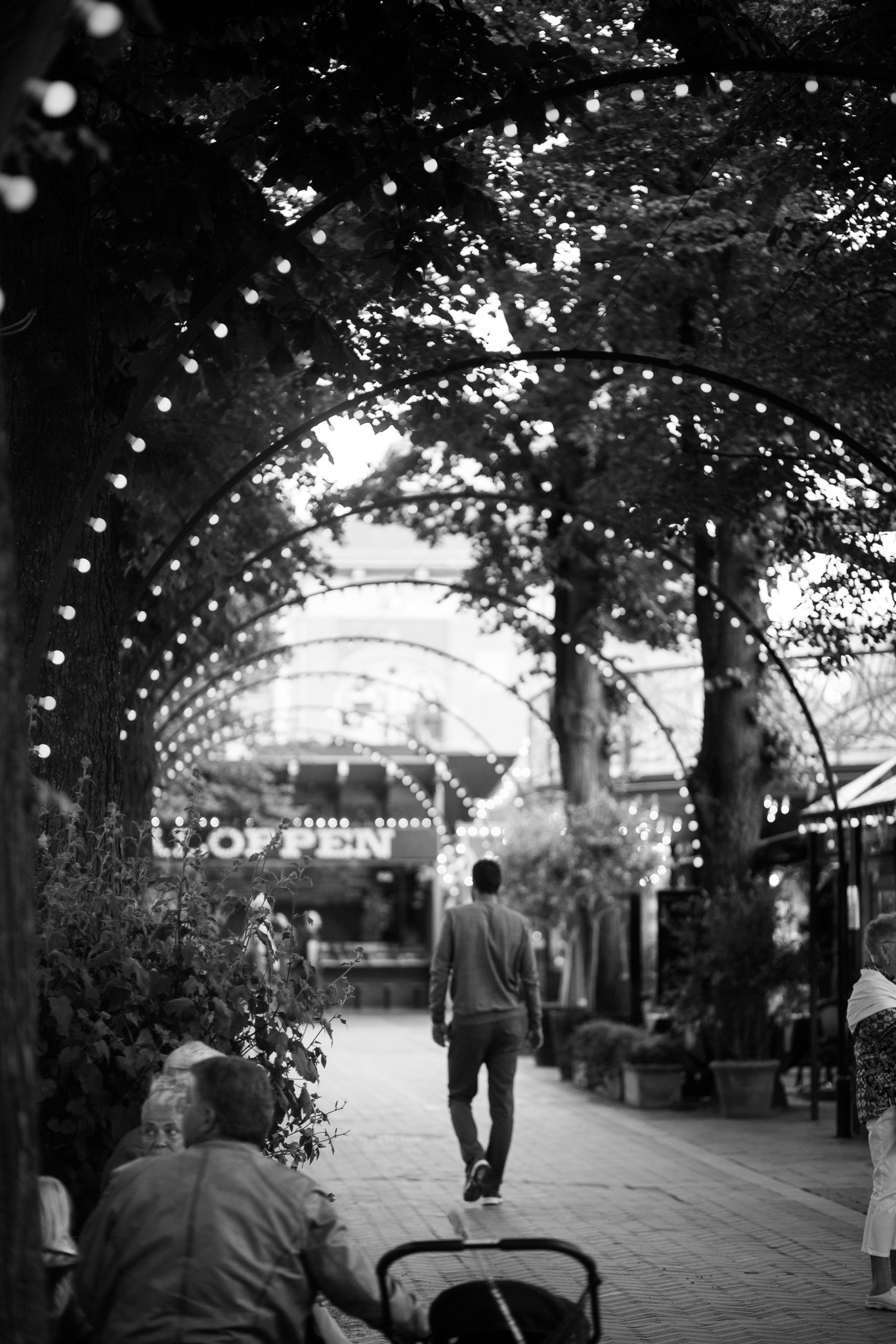 Twinkly lights over the arcade at Tivoli.