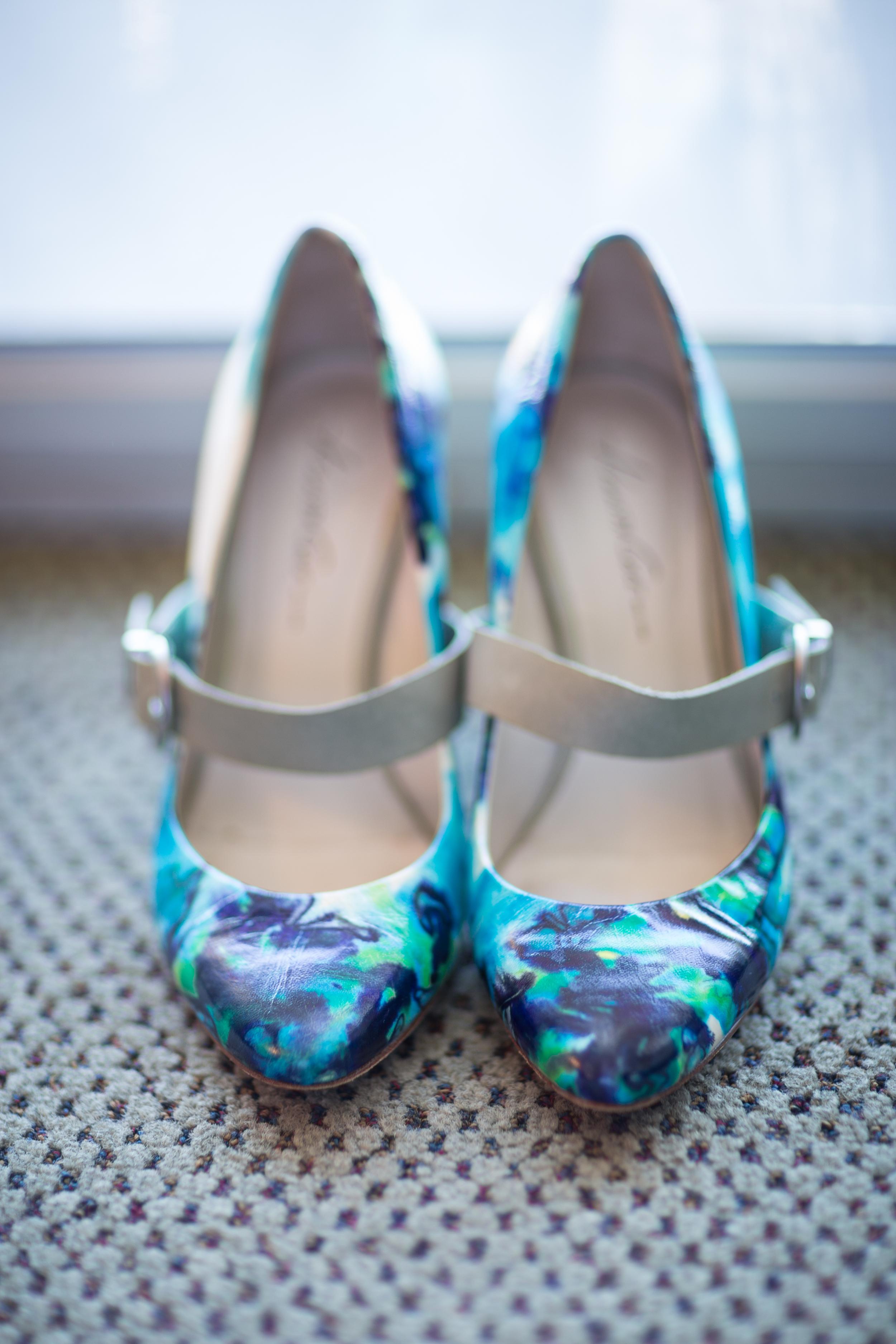 blue silk wedding shoes