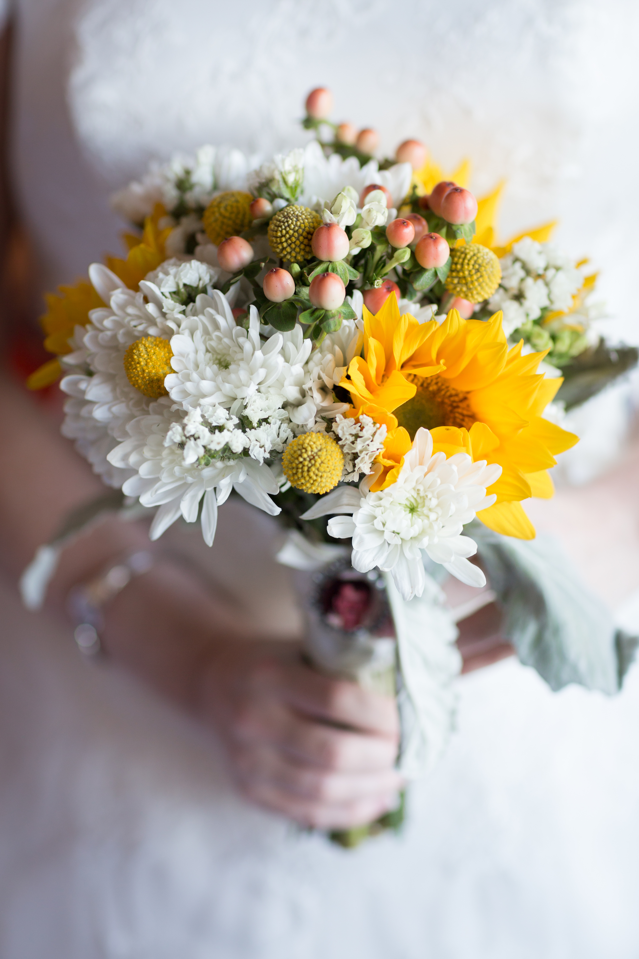 yellow white sunflower bridal bouquet