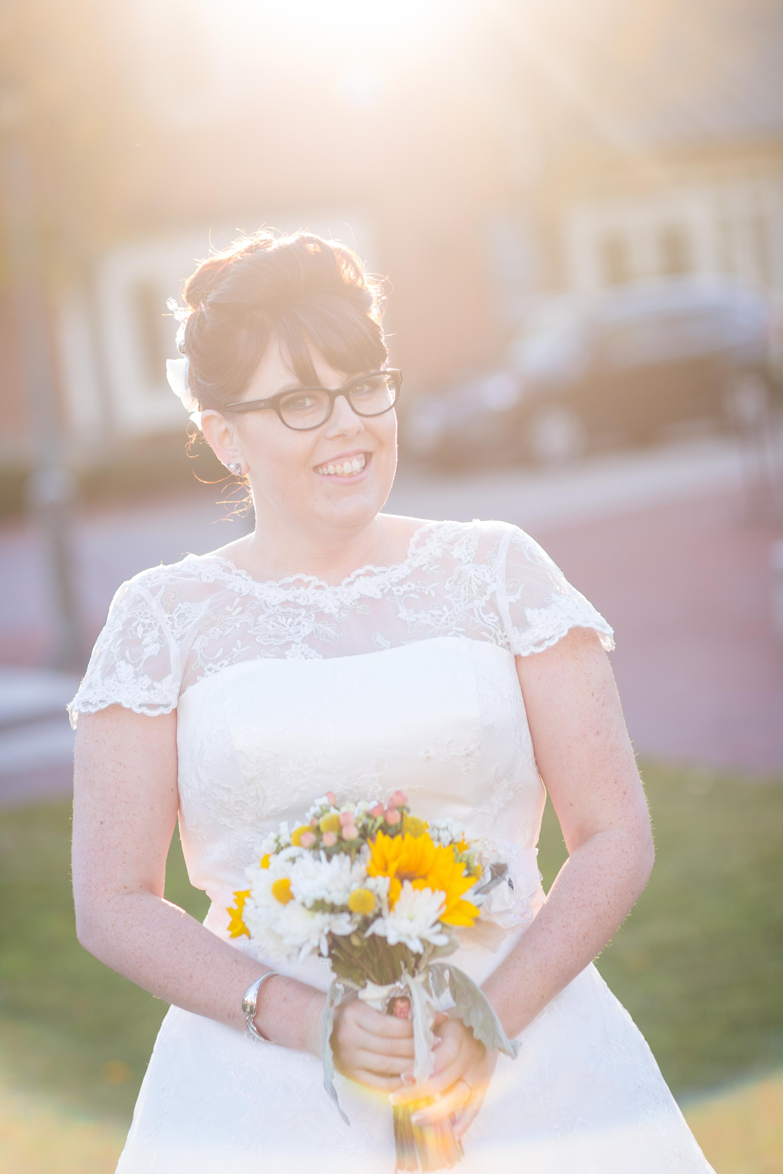 sunlit bride glasses retro