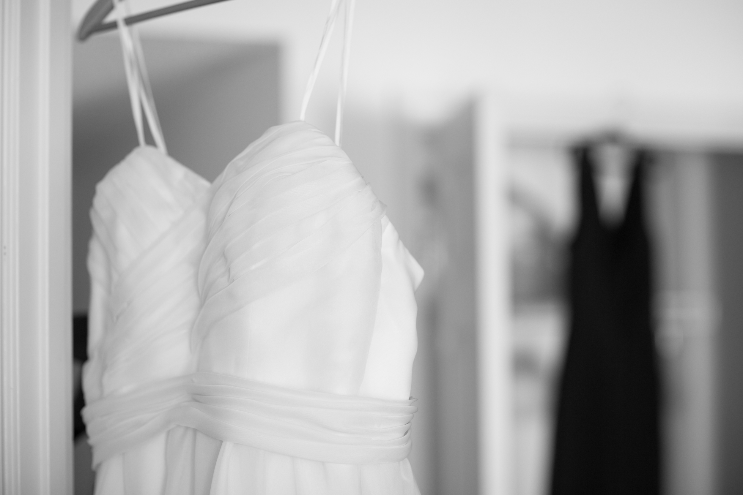 wedding dress rack focus
