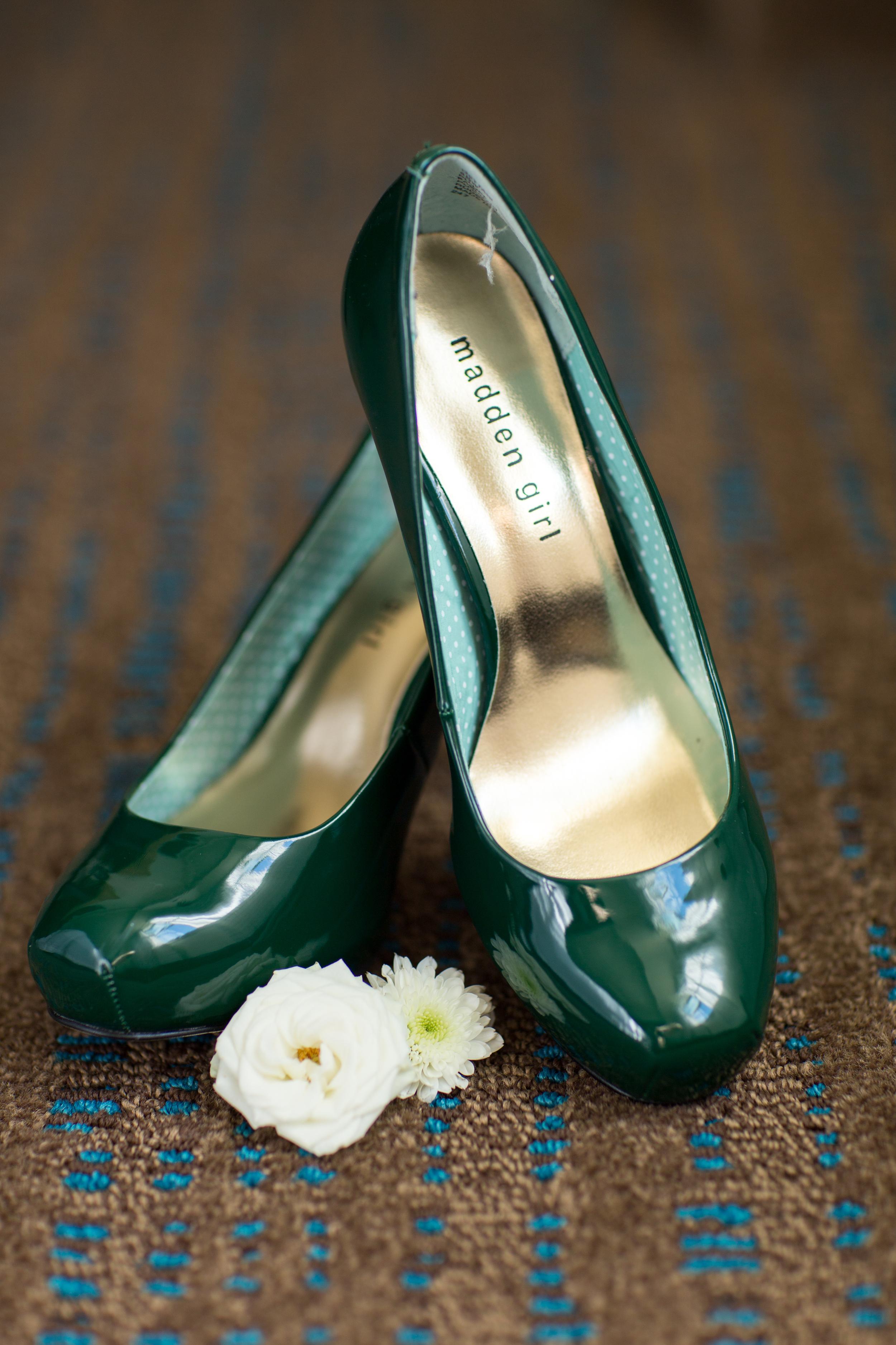 bride shoes green