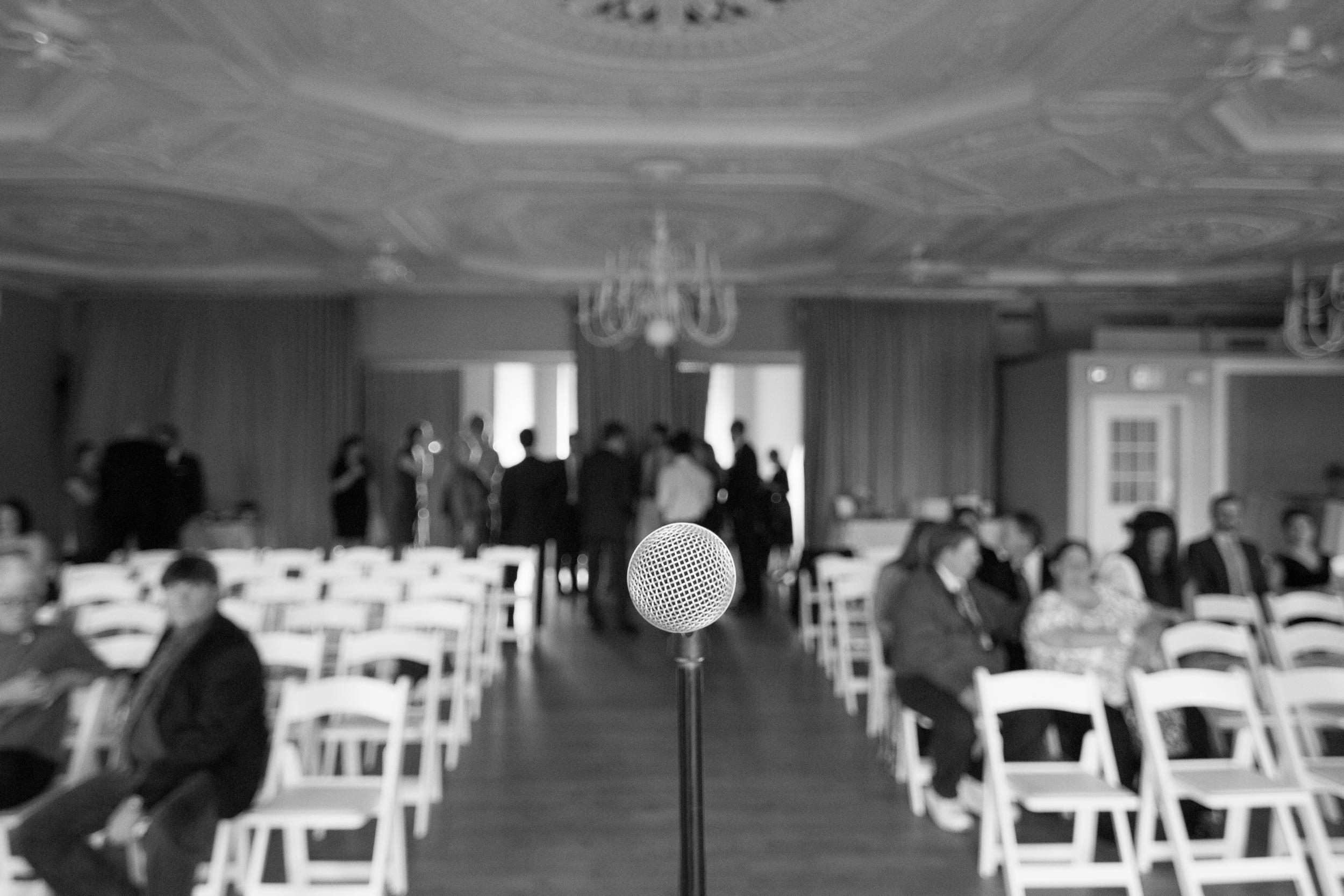 wedding behind the mic