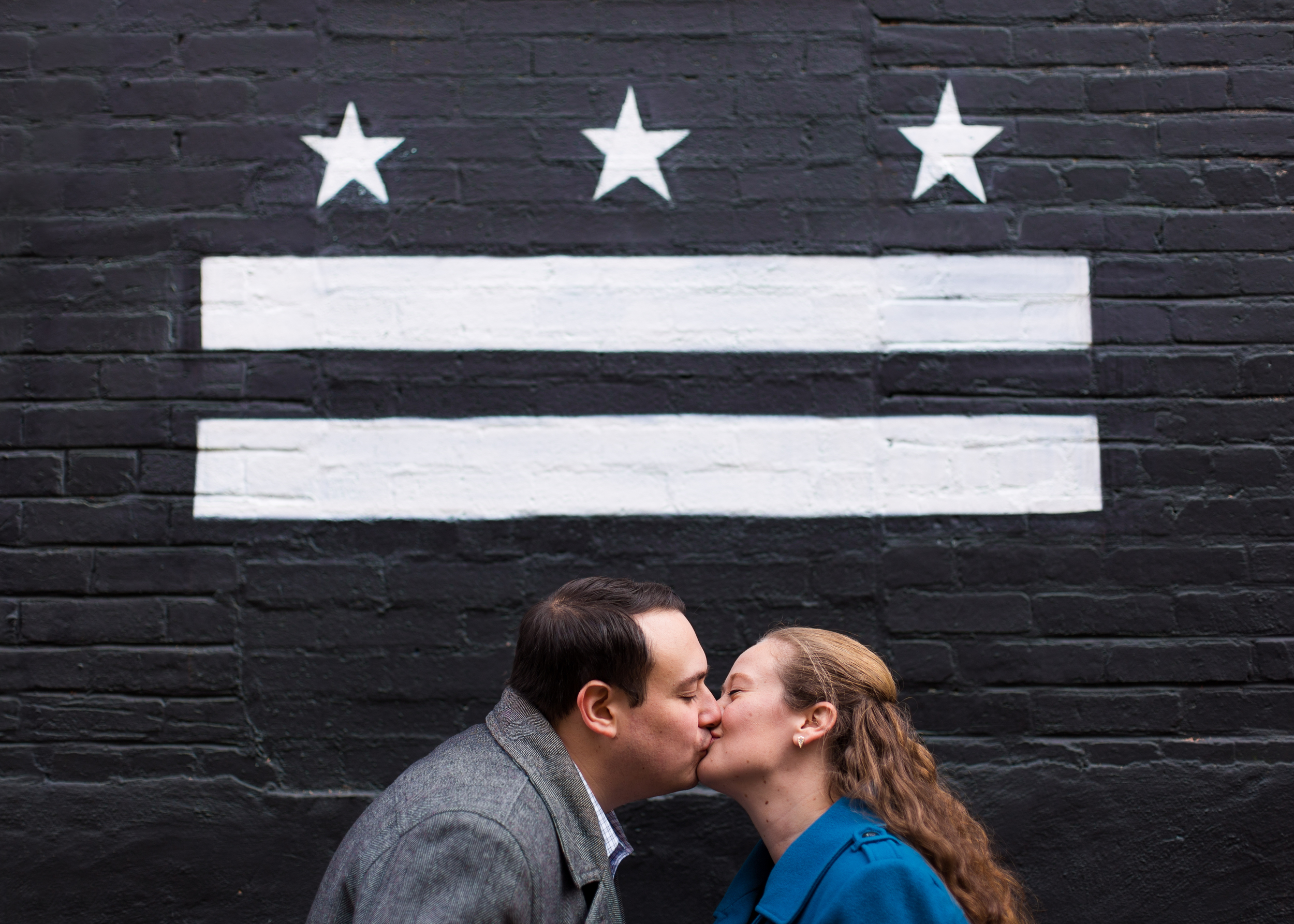 DC stars and bars engagement kiss
