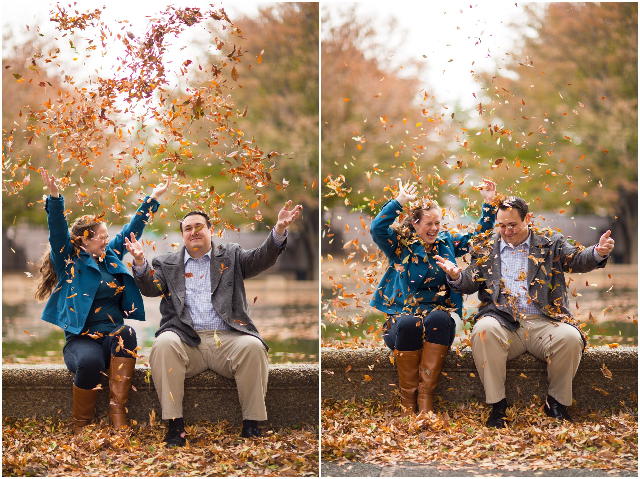 engagement session leaves autumn