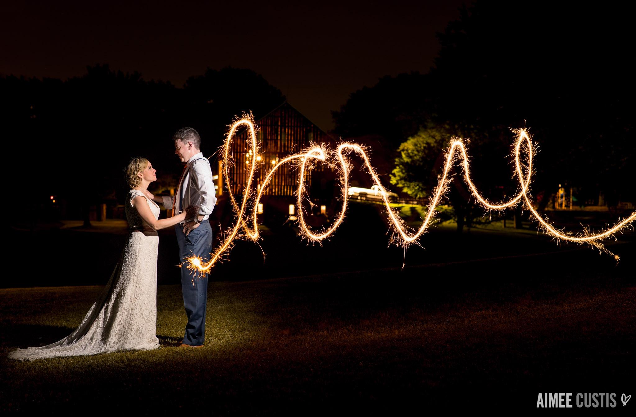 Smokey Glen Farm wedding sparklers