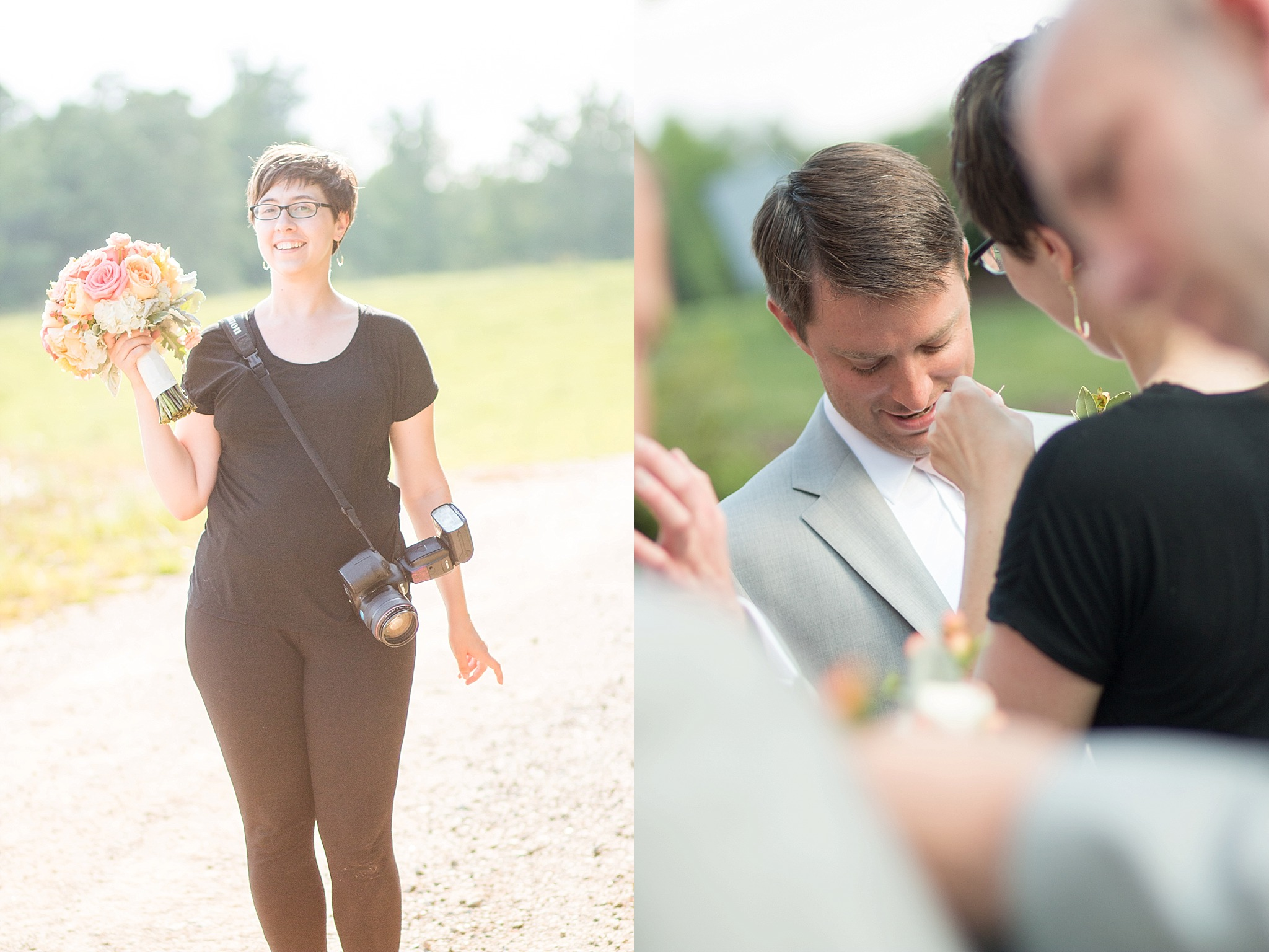 My wedding photography services extend to bouquet carrying, and boutonniere pinning. Critical skills, people!