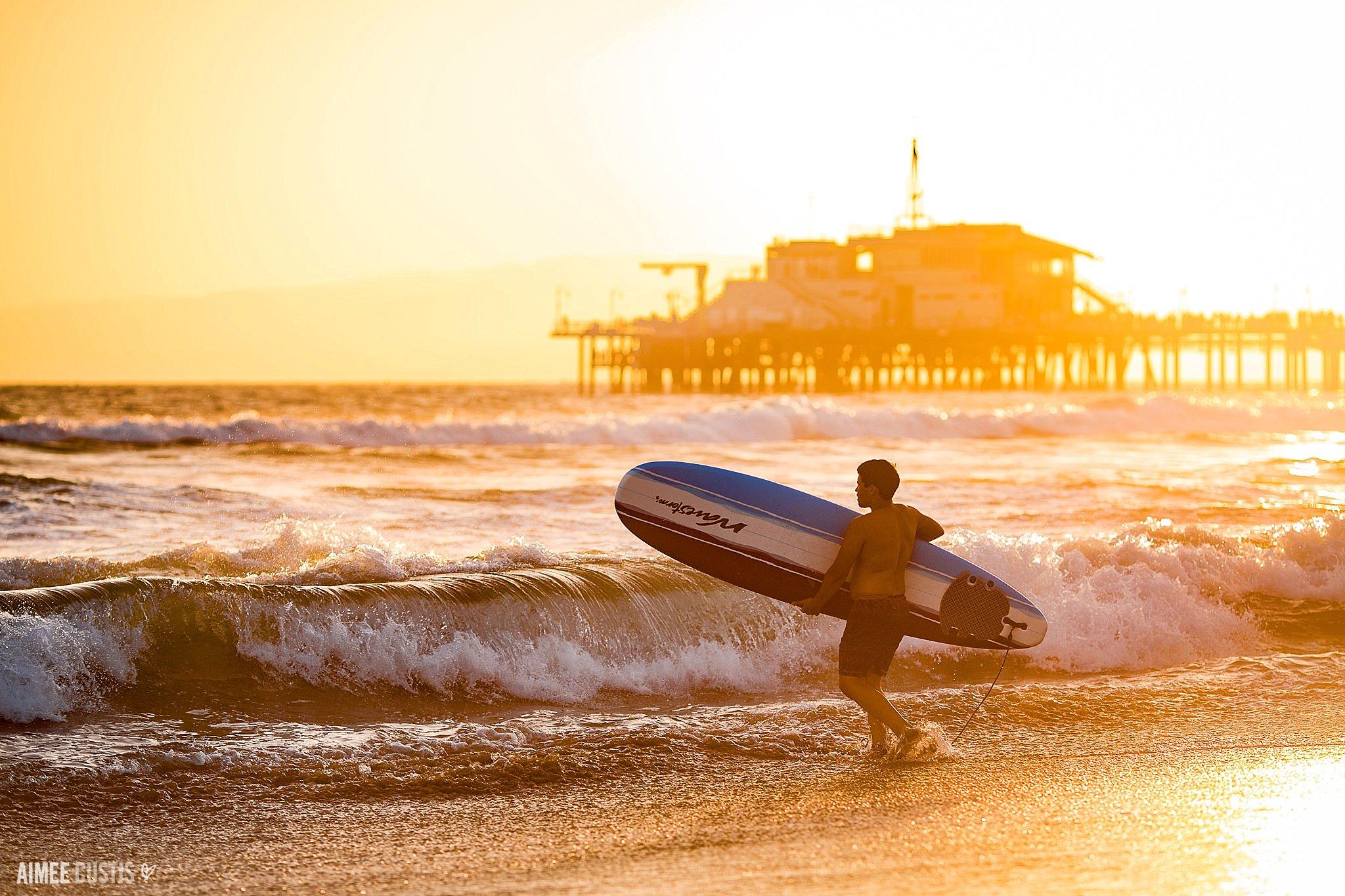 surfer sunset santa monica california