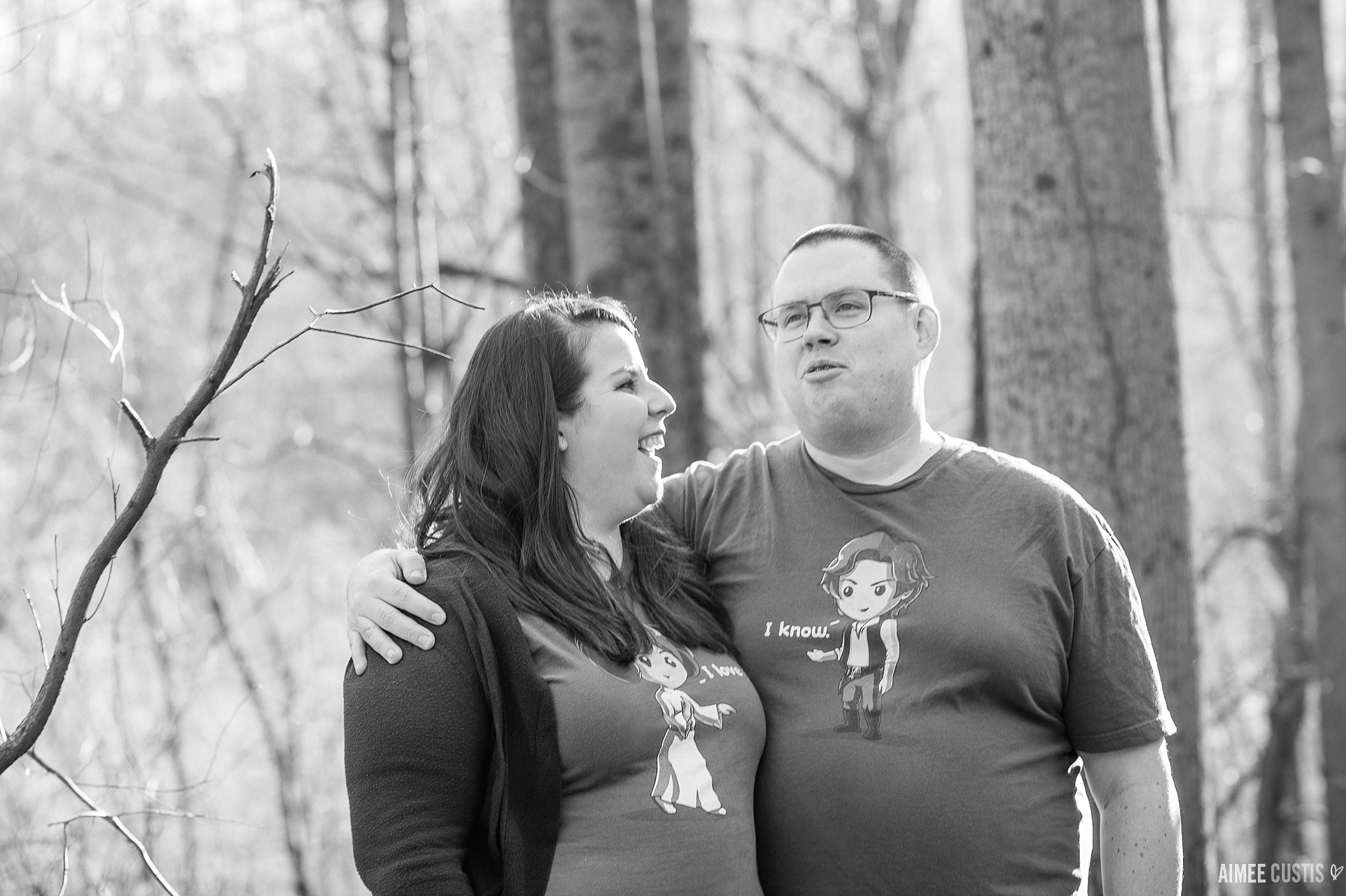 Ellicott City woodsy engagement session