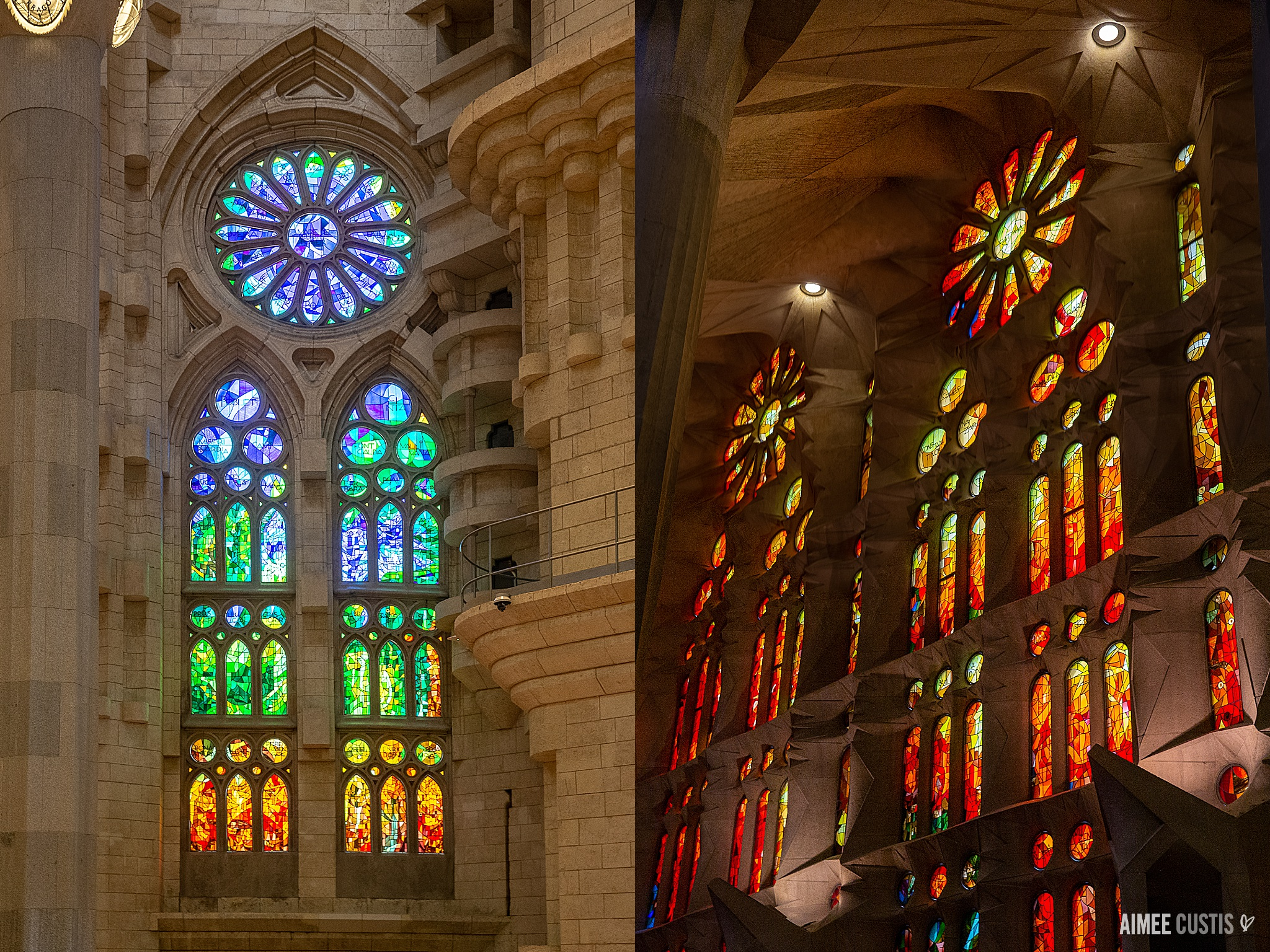 Most of the stained glass windows in the Sagrada Familia were only installed 20 years ago! On the east side of the building, colors tend to be cooler (to better channel sunrise light) and on the west side, warmer (sunset)!