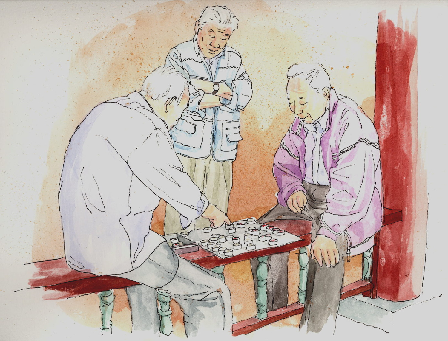 Chinese Checkers (ink & watercolor)
