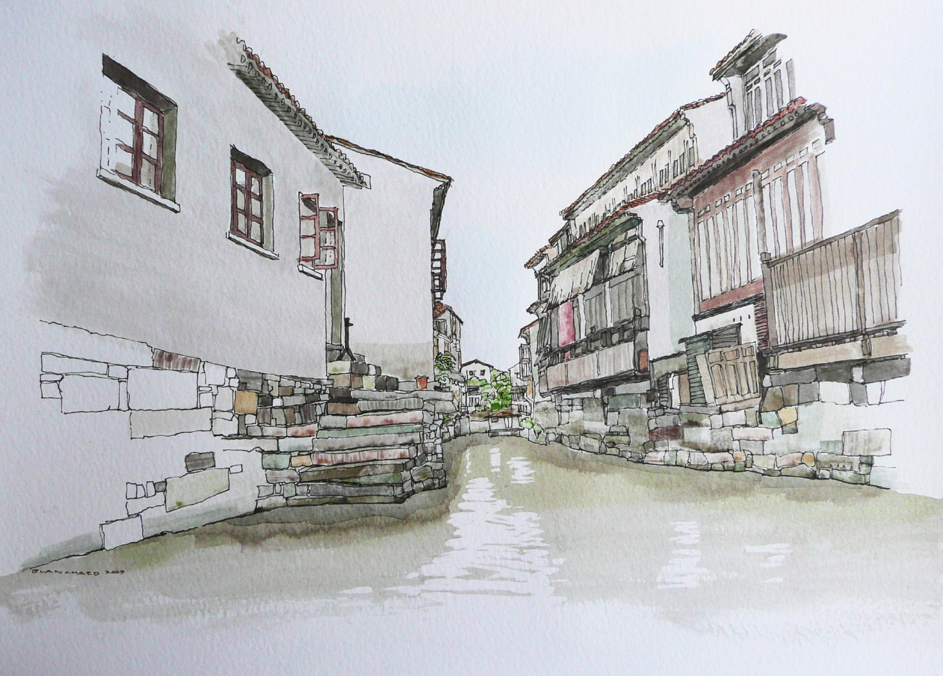 Suzhou Canal (ink & watercolor)