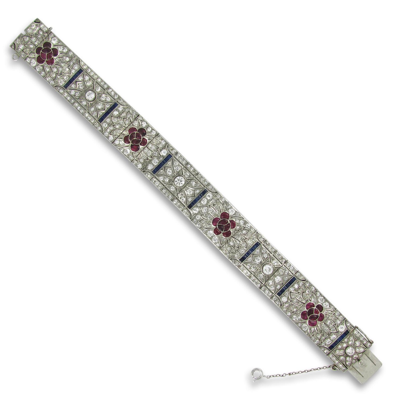 Art Deco, Platinum, Ruby and Sapphire Bracelet