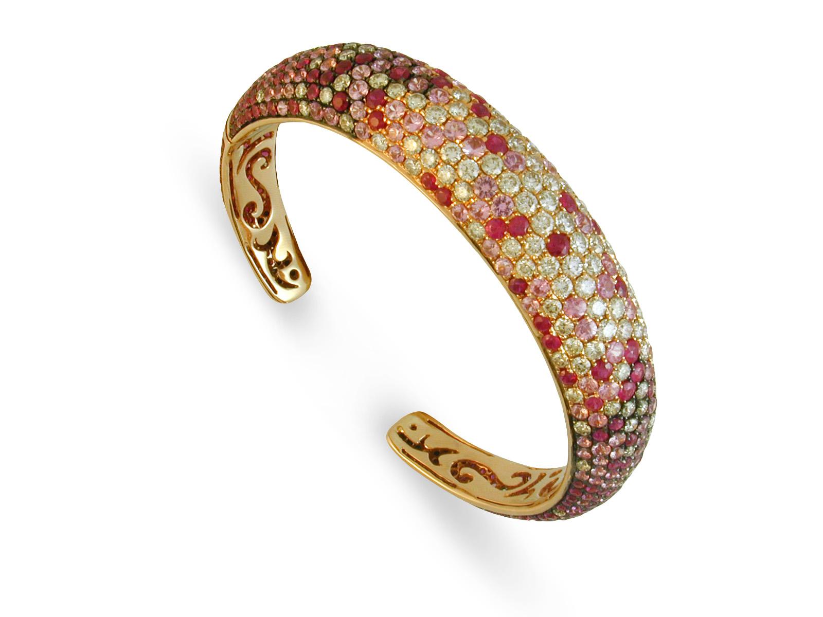 Pavé Ruby, Pink Sapphire and Diamond Bracelet