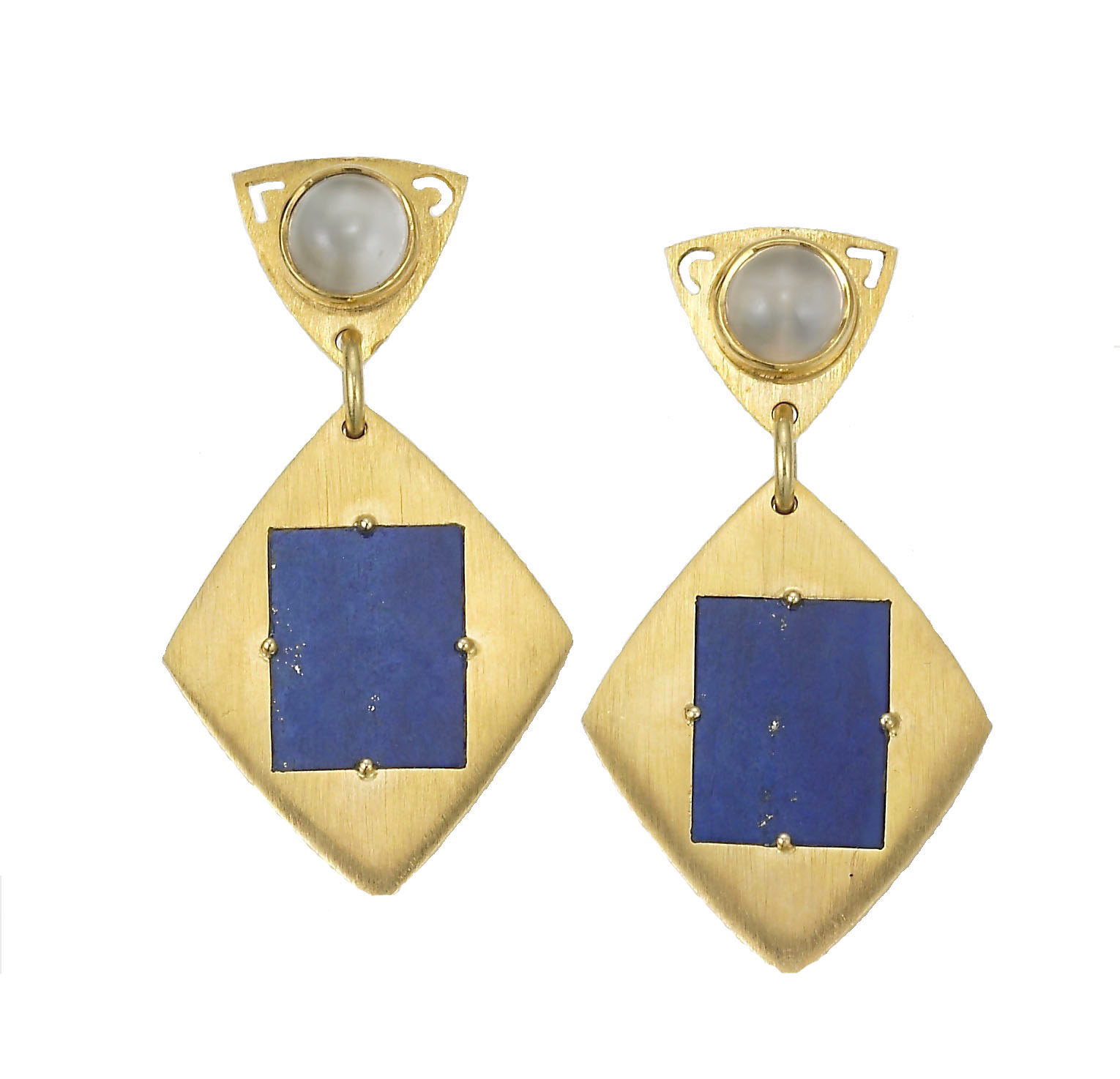Brushed Yellow Gold and Lapis Lazuli Earrings