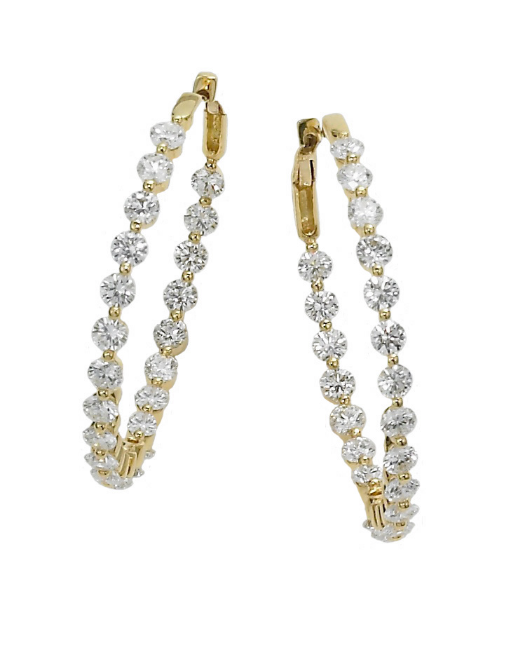 """Diamond Hoop Earrings   18KT yellow gold and diamond hoop earrings set """"in and out"""" with 32 round diamonds. Total diamond weight is 2.57 carats and diamonds are F-G color, VS clarity. 1"""" diameter. For pierced ears. Signed Meriwether.  $5,400"""
