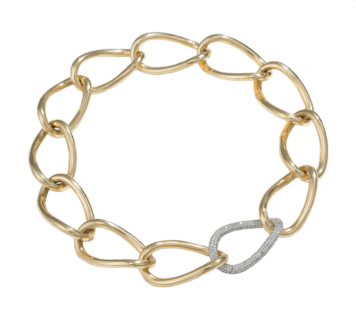 """A pair of the 18KT yellow gold """"Posh"""" bracelets from the Meriwether Retro-Redux line can be joined to form the """"Posh"""" necklace. The interchangeable diamond pavé clasp link shown can be purchased separately. From the RETRO REDUX line by Meriwether."""