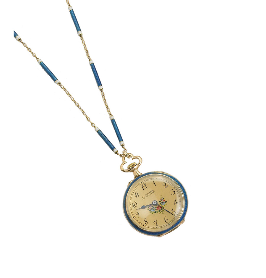 Victorian Enameled Watch Necklace