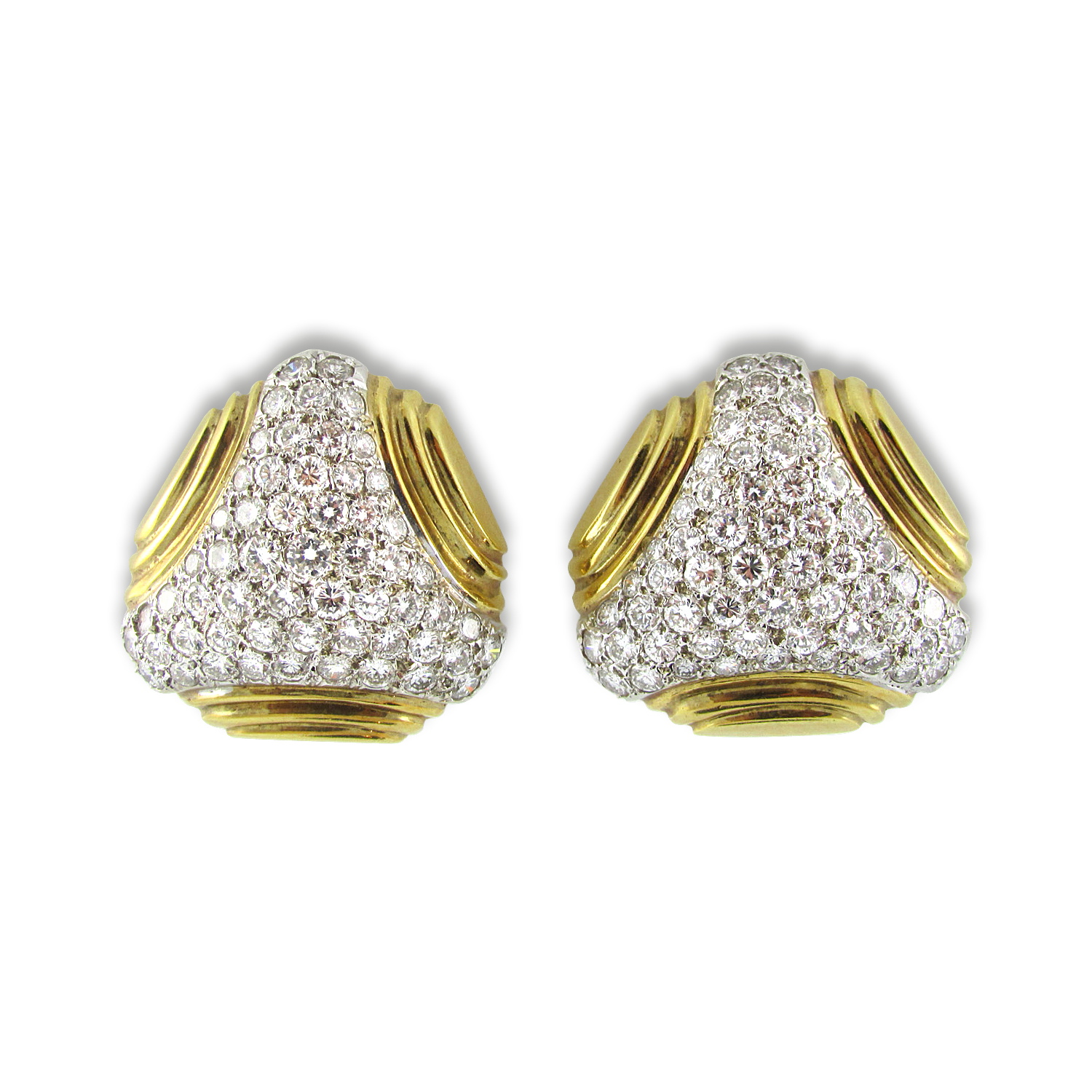 Yellow Gold and Diamond Shield Earrings