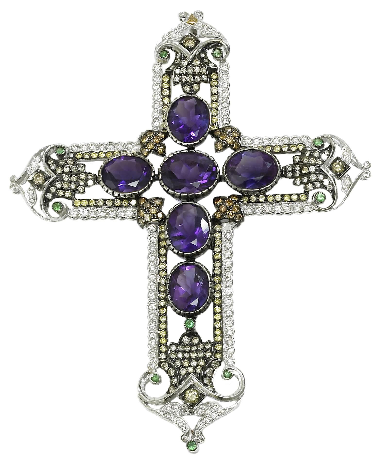 Amethyst, Diamond and Tsavorite Cross