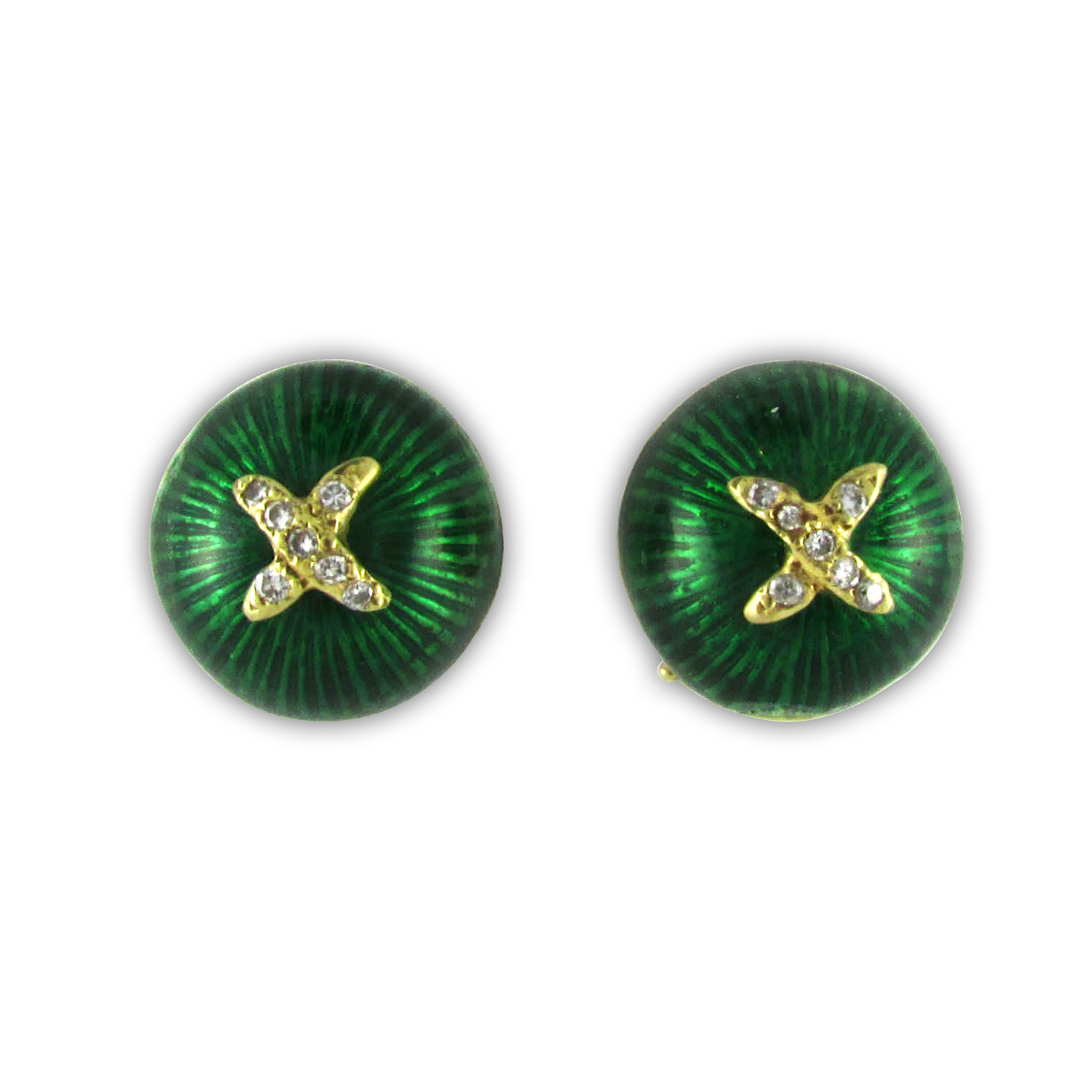 Green Enamel and Diamond Stud Earrings by Hidalgo