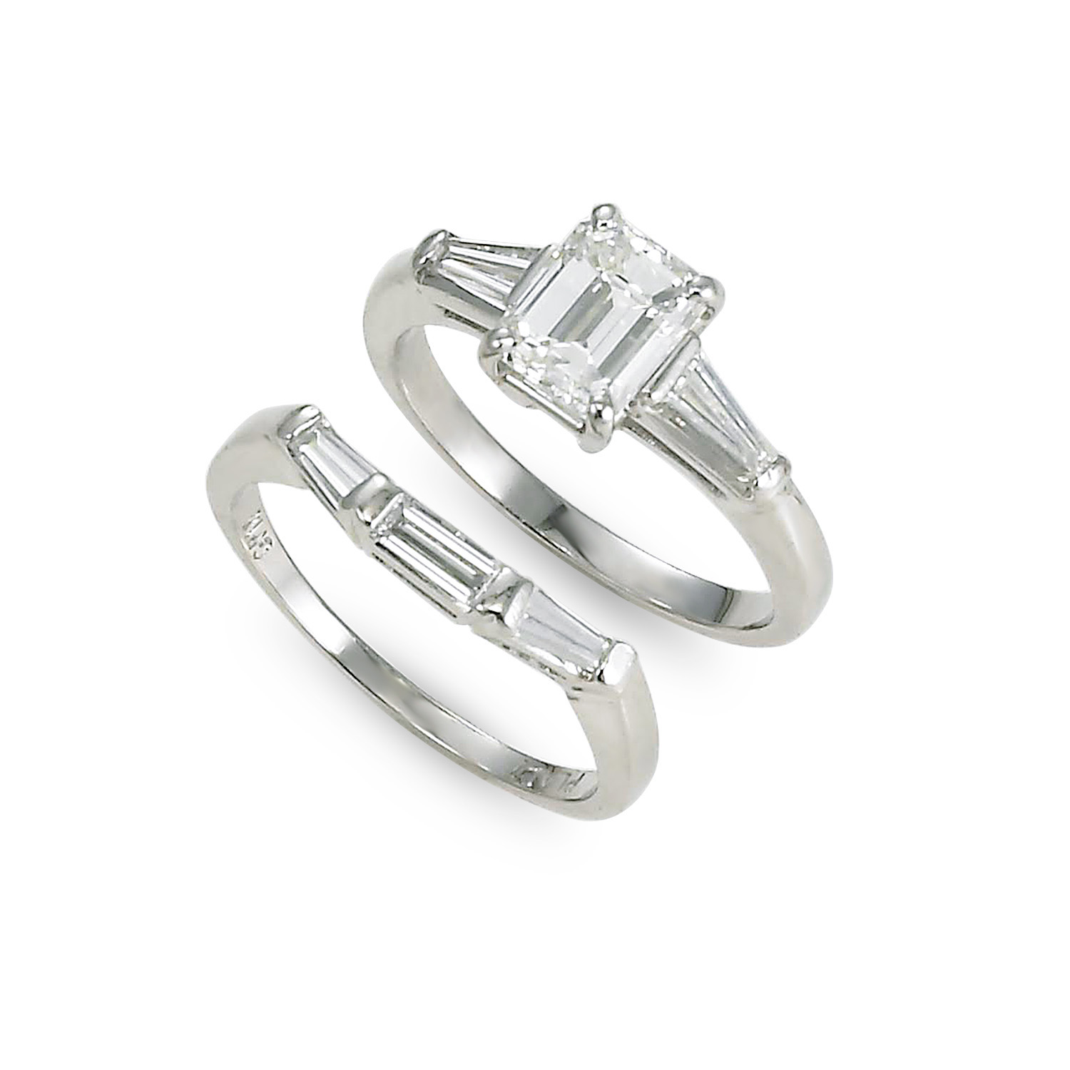 Emerald-Cut Diamond Wedding Set