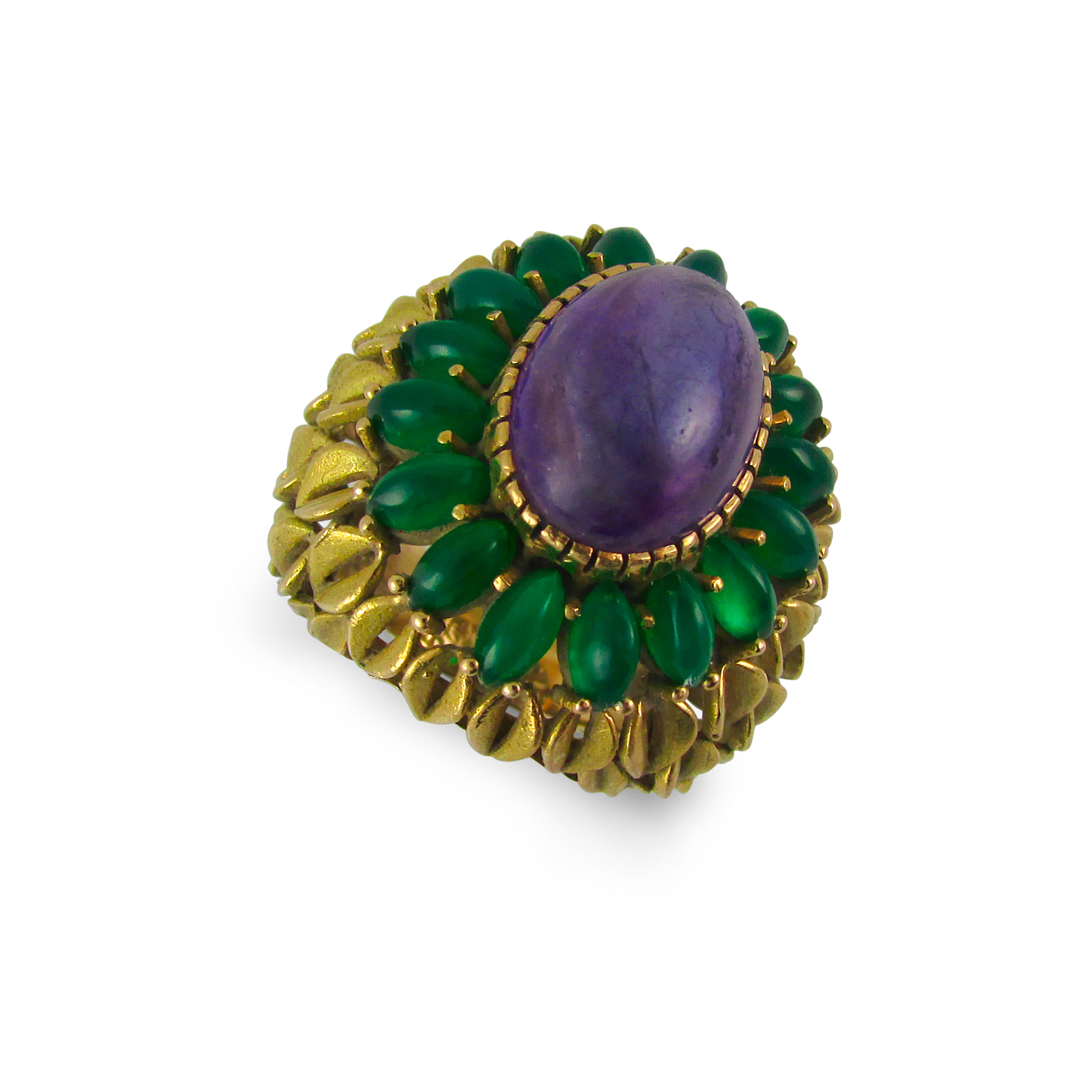 Amethyst and Green Onyx Cocktail Ring