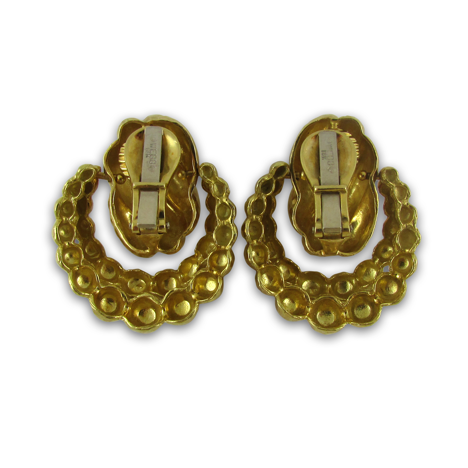 18KT yellow gold hammered door knocker earrings. Signed WEBB.