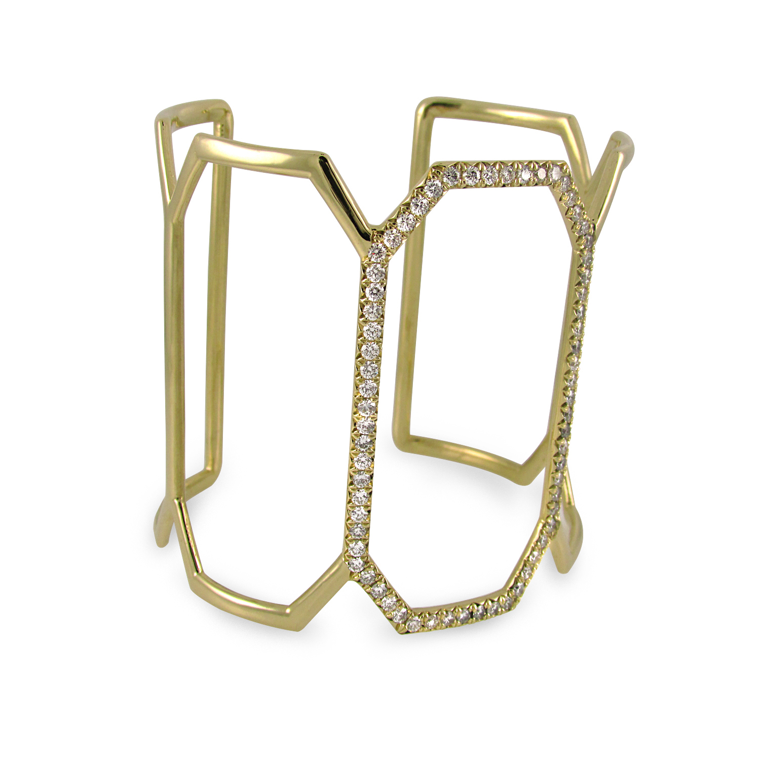 18KT yellow gold openwork cuff designed as 5 octagonal links; the center link is pavé set with 2 carats of round diamonds.