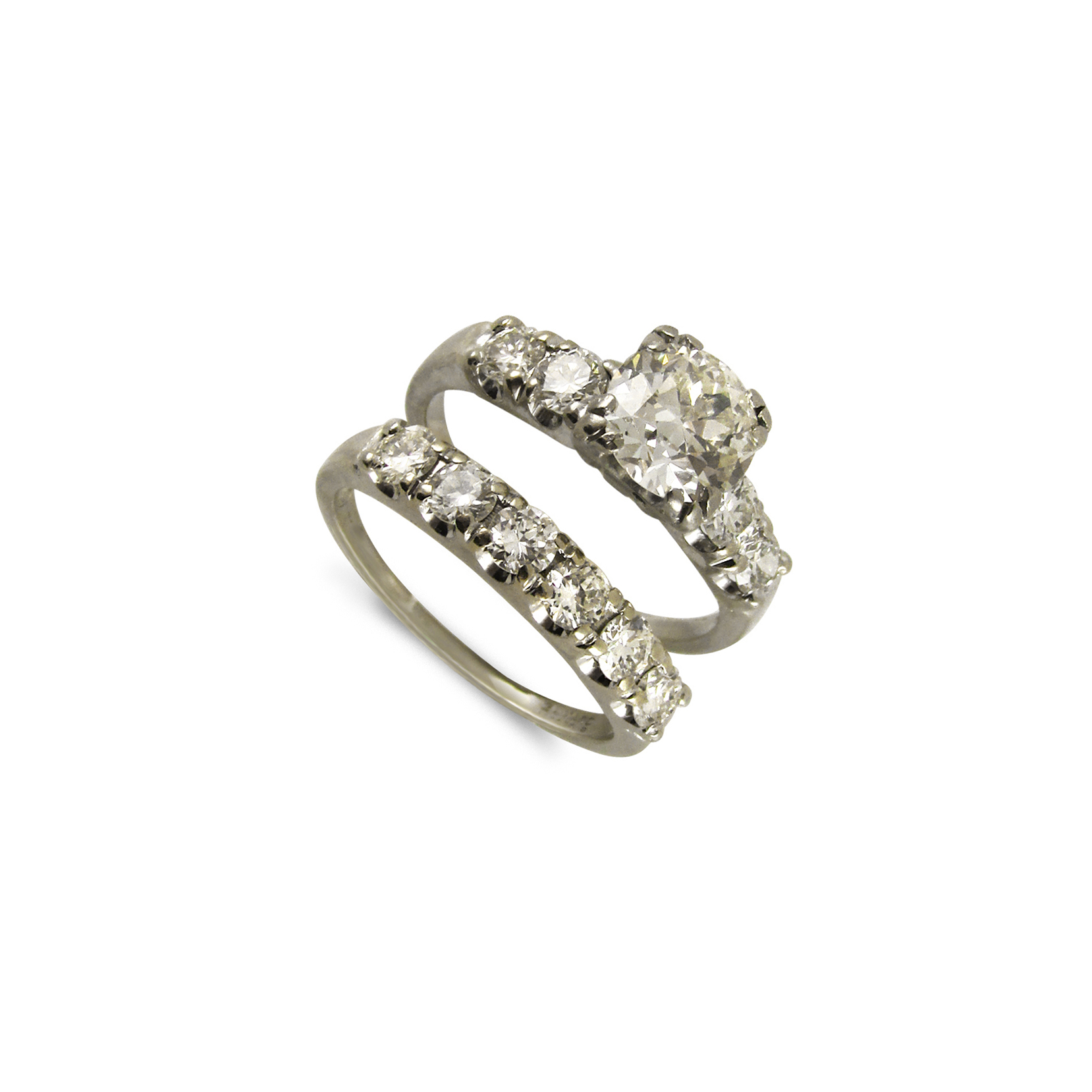 White Gold Diamond Ring with Matching Band