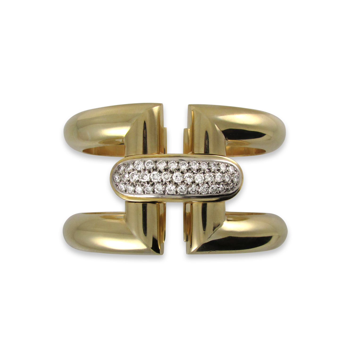 Wide Gold Cuff with Diamonds