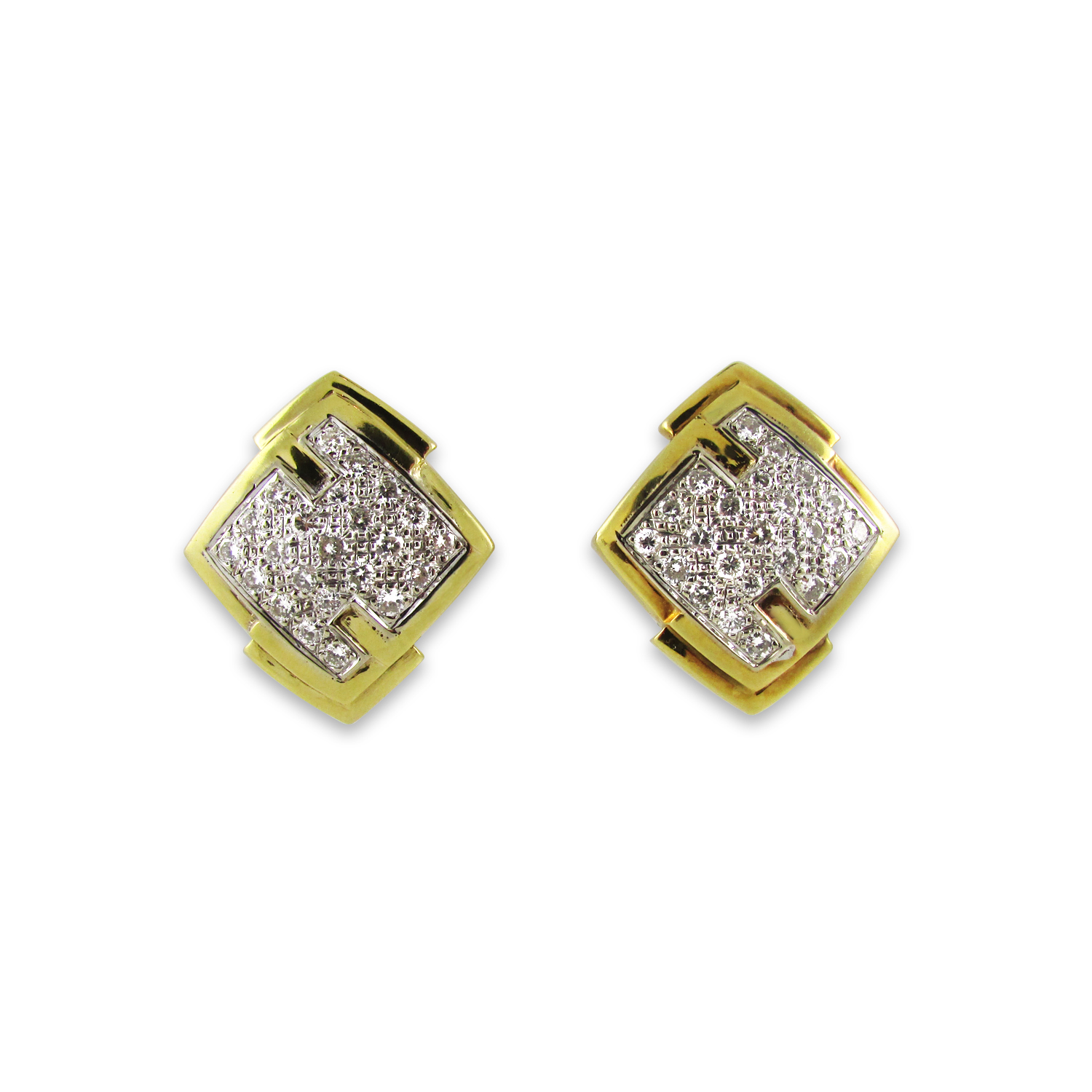 Geometric Yellow Gold and Diamond Earclips