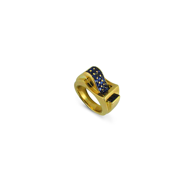 Retro Sapphire Buckle Ring