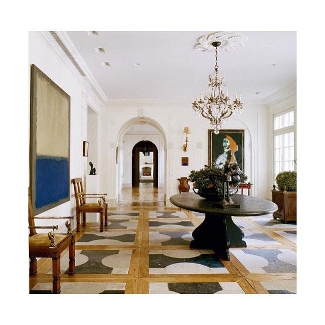 Fresh, natural light, great art...and that lovely motif floor pattern! By @stephensillsassociates
