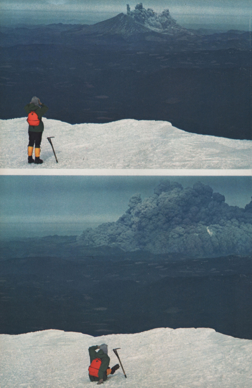 """Mt. St. Helens, May 18th 1980, 8:32am     """"An eyewitness to the unimaginable, Suzanne Christiansen drops awestruck on Mount Adams as the blast, 35 miles away, quickly spreads to a 20-mile halo of death.""""    - photos by John V. Chirstiansen. Photos and quoted text originally published in National Geographic Vol. 159, No.1 (January 1981).    Photo re-blogged from dequalized.com (click photo to visit)."""