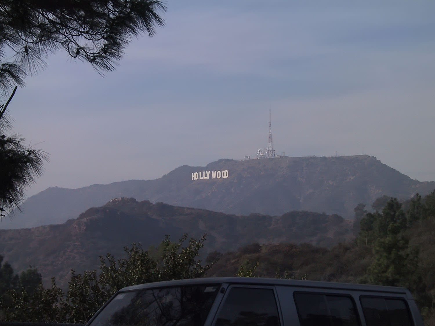 The Hollywood sign as seen from near the Griffith Park Observatory.