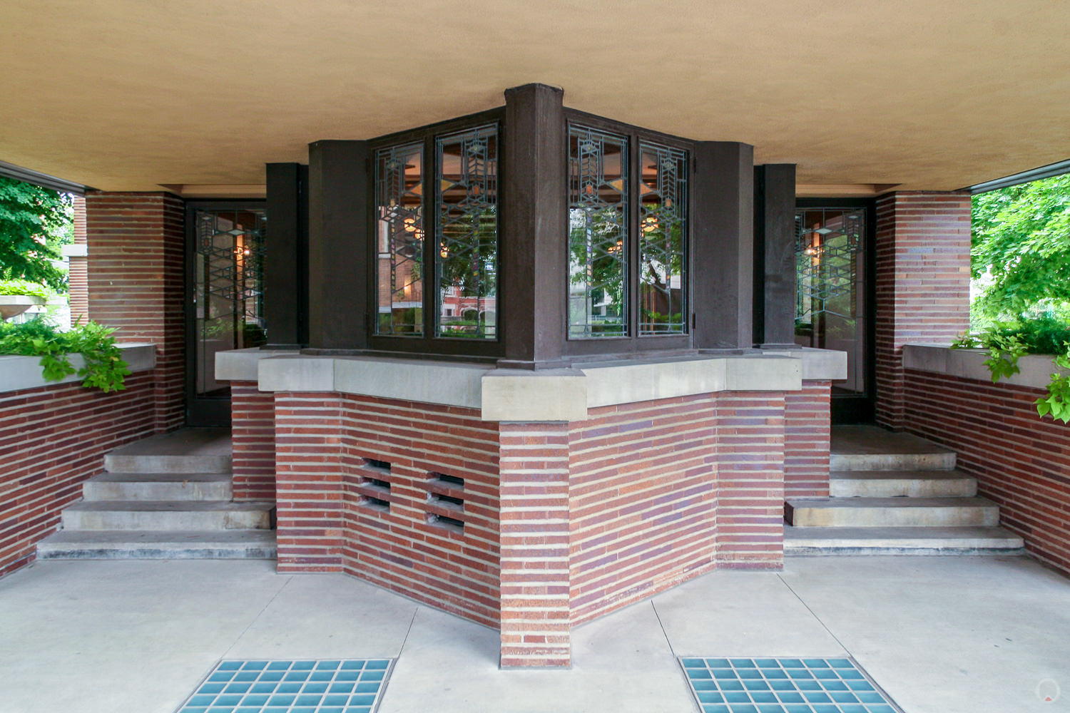 """Standing on the west porch looking back toward the """"prow"""" of the living room."""