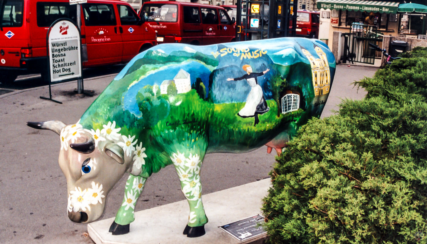 In 2000, Salzburg joined the list of cities to have a  Cow Parade .  This cow was sponsored by  Panorama Tours .