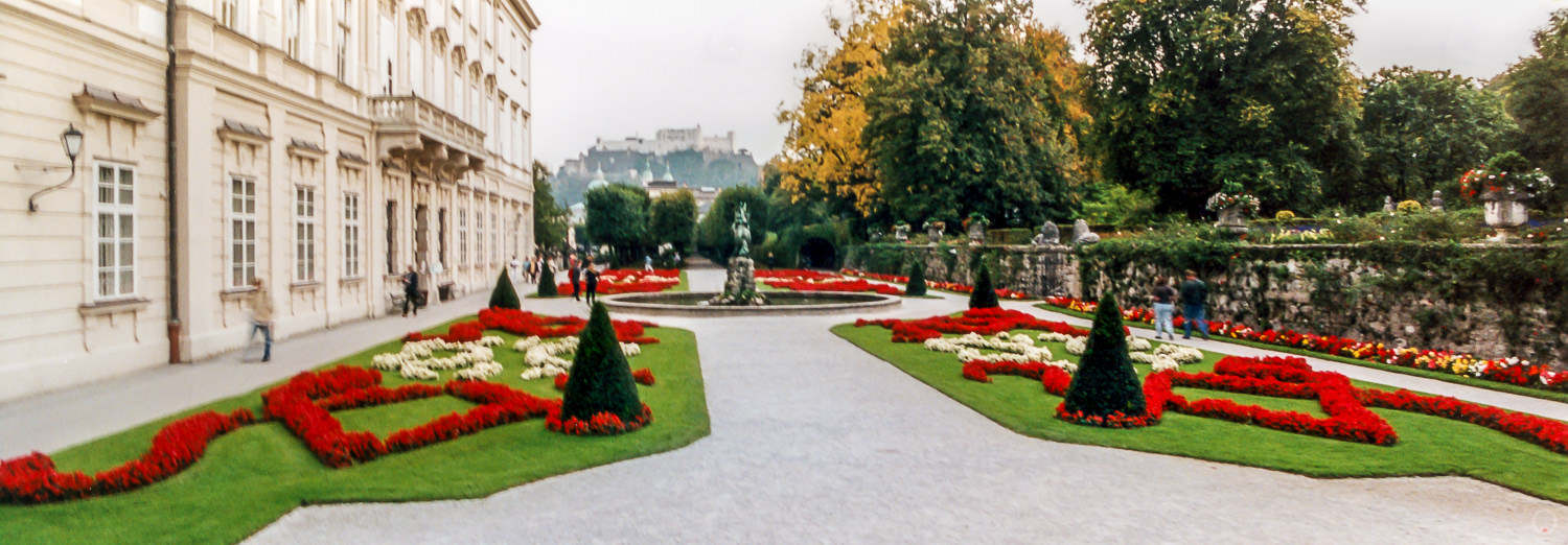 Mirabell Palace & Gardens with Festung Hohensalzburg in the distance.