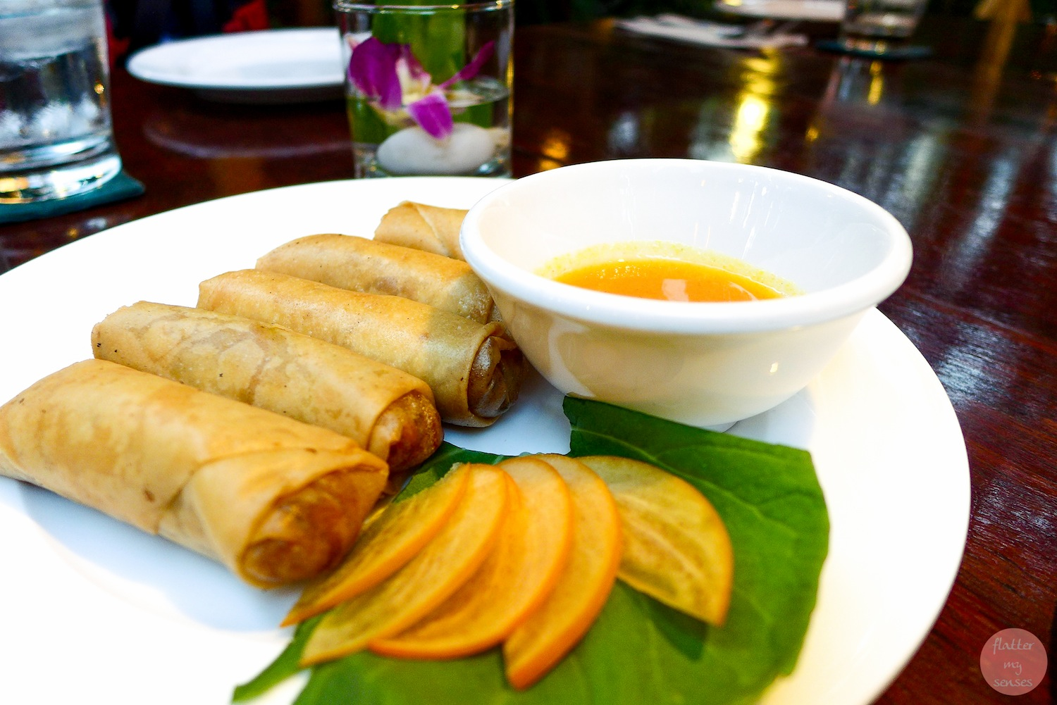Crispy Duck Spring Rolls with Spiced Persimmon Sauce ($4.75)