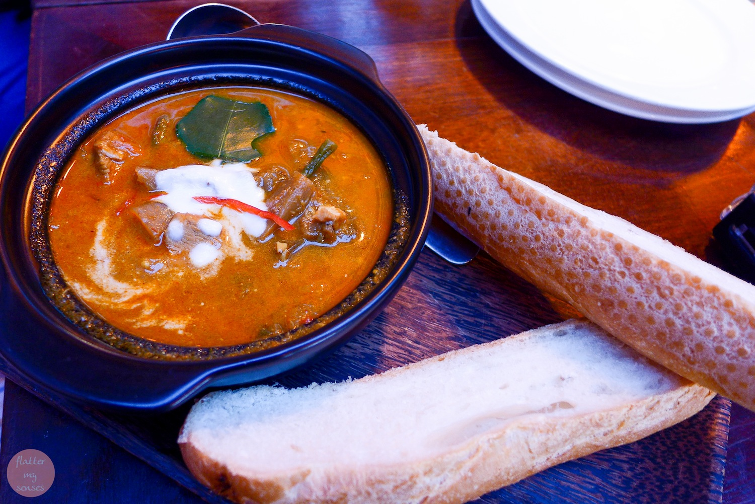 Romdeng's Famous Chicken and Vegetable Curry served with Baguette ($6.50)